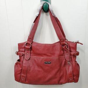 Grace Adele red leather shoulder purse